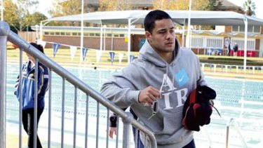 Dampener ... Jarryd Hayne attends Parramatta's recovery session yesterday.