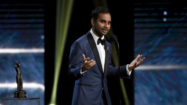 Aziz Ansari accepts the Charlie Chaplin award for excellence in comedy at the BAFTA Los Angeles Britannia Awards on October 27, 2017.