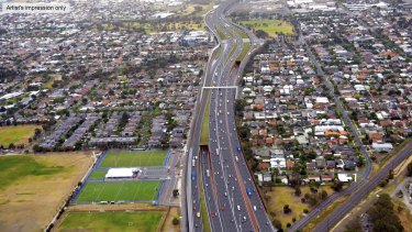 An artist's impression of the government's preferred route for Transurban's Western Distributor project.