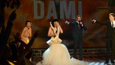 Happy tears: When Dami was declared X-Factor champion.