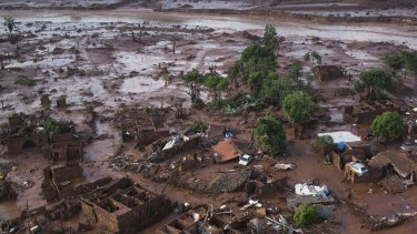 The town of Bento Rodrigues, 40 kilometres downstream from the mine, was completely destroyed in the Samarco disaster.