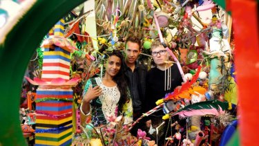 Paul Yore (right in picture) with curator Sapnu Chandu (left) and Michael Warnock.