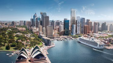 Lendlease's $1.5 billion Circular Quay Office Tower (tallest building  towards the right) will sit behind the Wanda One Circular Quay apartment and hotel development.