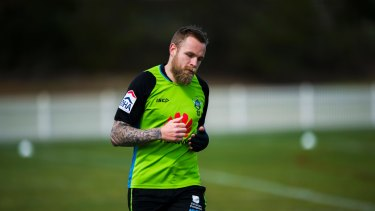 Blake Austin at Canberra Raiders training on Thursday morning.