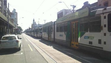 Trams banked up on Smith Street after this morning's explosion.