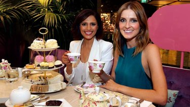 Tea to tango: Sally Obermeder (left) with Kate Waterhouse at The Tea Salon.