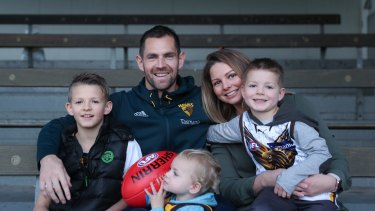 Luke Hodge pictured with his family ,wife Lauren , sons (L-R) Cooper, Leo and Chase.