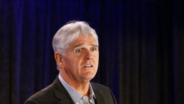 SYDNEY, AUSTRALIA - AUGUST 16: NBN CEO Bill Morrow delivers a speech during the company FYR media presentation on August 16, 2016 in Sydney, Australia. (Photo by Daniel Munoz/Fairfax Media)