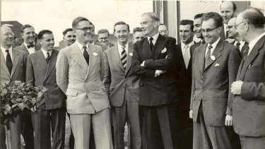 Persistent: Don George with Sir Anthony Eden, who he met while working at the UK Atomic Energy Authority.