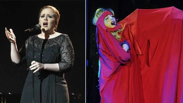 A tale of two ditties … Adele performs with a startling lack of stage hokum, left, while Lady Gaga opts for the more exhibitionist route. Photos: Getty