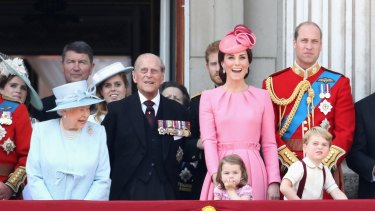 Prince Philip, with the Queen, the Duke and Duchess of Cambridge, Prince George and Princess Charlotte at Trooping the Colour last week.