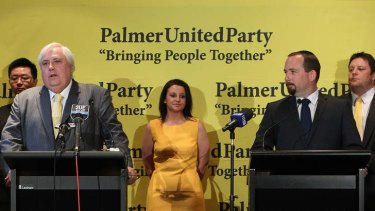 Clive Palmer from Palmer United Party with Senators-elect Ricky Muir (right) and behind from left Zhenya Wang (WA), Jacqui Lambie (Tasmania) and Glenn Lazarus (Queensland).