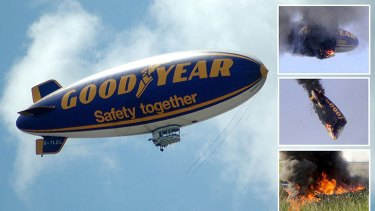The airship catches fire and crashes after the Australian pilot told his passengers to jump clear.