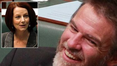 Taking it on the chin ... Rob Oakeshott laughs off the Prime Minister's bagging of his beard.