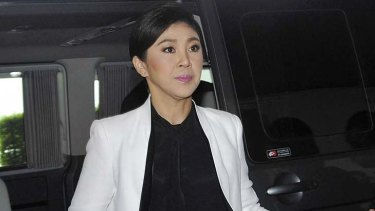 Thailand's Prime Minister Yingluck Shinawatra arrives at the flood relief operation center in Bangkok, Thailand.