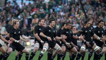 The All Blacks perform the Haka in Johannesburg.