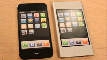iPhone prototypes from 2006 revealed by Samsung in court documents. Left model was inspired by Sony, while the one on the right resembled an iPod Mini.