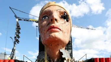 In better times: The head of Nefertiti is the centrepiece of Opera on Sydney Harbour's <i>Aida</i>.