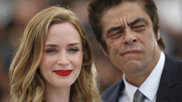 'I think that everyone should wear flats, to be honest' ... Emily Blunt is not impressed with Cannes' high-heels only rule, and her <i>Sicario</i> co-star Benicio Del Toro says he may start wearing them in solidarity.