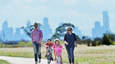 Alice and Jason Osborne in Point Cook, where they live with their children William, 7, and Lucy, 4.