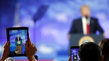 US President Donald Trump addresses conservatives.