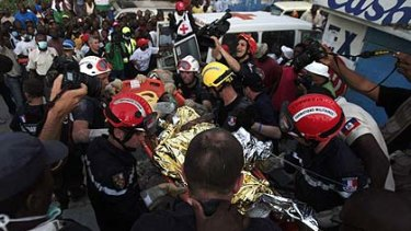 Rescued ... Darlene Etienne, 16,  survived 15 days buried in the rubble after the earthquake.