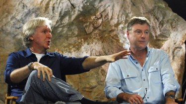 Andrew Wight, right, with Hollywood producer-director James Cameron, on the Gold Coast in 2010.