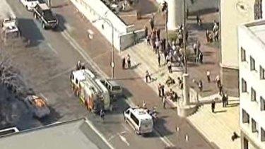 The scene outside Parramatta Family Court.