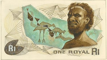 Another design for the one royal note had an indigenous theme.