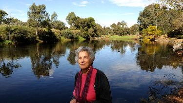 Sue Course at the duck pond at Darebin Parklands yesterday.