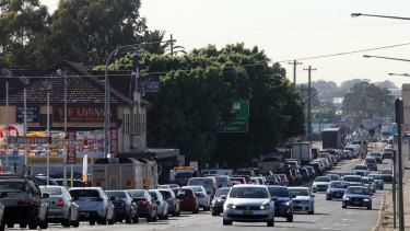 nww300314 Parramatta Road, Granville in peak hour traffic at approximately 8:20am. Picture: Isabella Lettini 30/10/15