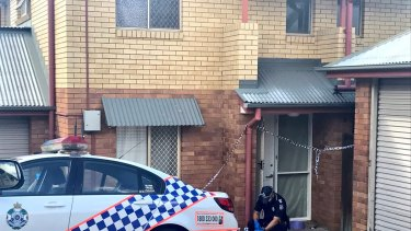 Police at the Northgate townhouse last month, where paramedics found Maddilyn-Rose Stokes unconscious and not breathing.
