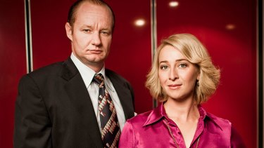 Paper Giants ... Rob Carlton as Kerry Packer and Asher Keddie as Ita Buttrose in the TV mini-series.