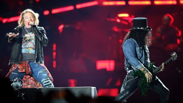 Axl Rose and Slash on stage in Melbourne.