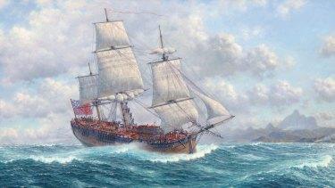 Marine artist Oswald Brett's painting of James Cook's HM Bark Endeavour.