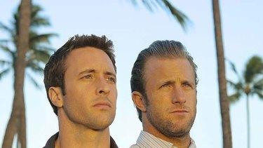 "Alex O'Loughlin as Detective Steve McGarrett and Scott Caan as Detective Danny ""Danno"" Williams in Hawaii Five-O."