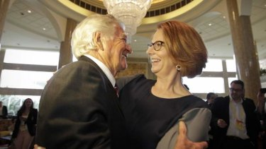 Julia Gillard with Bob Hawke at the Boao Forum on Saturday.