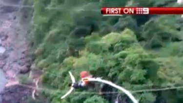 Erin Langworthy was filmed leaping from the bungy platform seconds before the mishap.