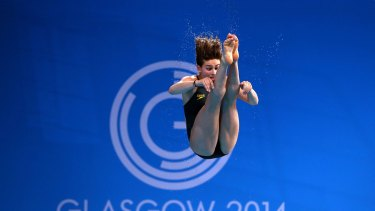 Maddison Keeney during the 3 metre springboard at Royal Commonwealth Pool.