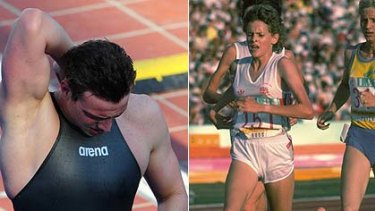 Different skins ... Paul Biedermann in his suit and Zola Budd in bare feet.