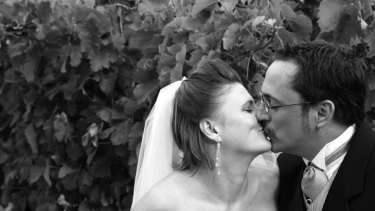 Peter Kurmann and wife Debra on their wedding day.