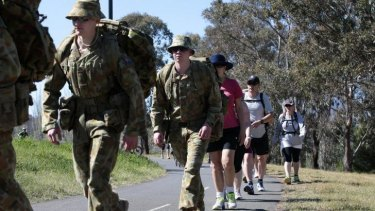 Current and former Navy, Army and Air Force members are walking 80km around Lake Burley Griffin as part of the  ANZAC Warriors Walk.