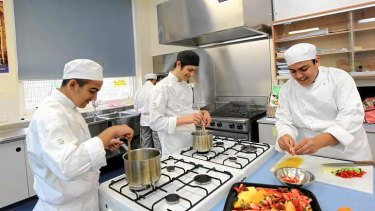 Master chefs: Punchbowl Boys High School students preparing gourmet meals.