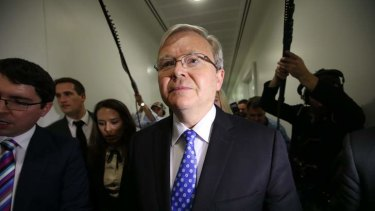 Kevin Rudd on June 26 after announcing that he would challenge Julia Gillard for the leadership.