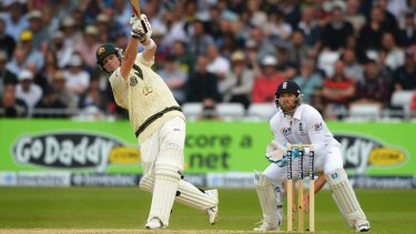 Hitting out: Steve Smith launches a six. The NSW all-rounder is 38 not out at stumps.