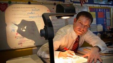 Teacher Michael Loeb at work at his Bronx school.
