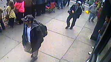 A CCTV image released by the FBI of the two men being sought over the Boston Marathon bombings.