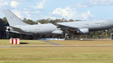 The KC-30A lands for the first time on Australian soil at its new home, RAAF Base Amberley.
