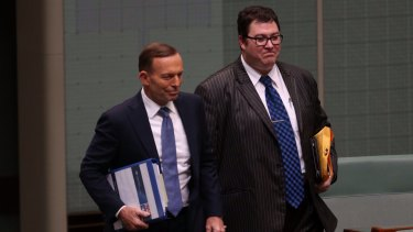 The then prime minister Tony Abbott with George Christensen in Parliament House, 2014.