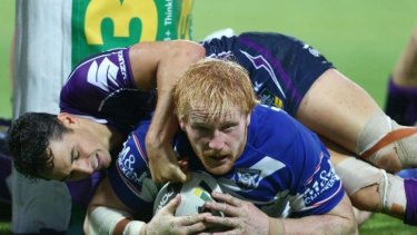 Try time: James Graham crosses for a Canterbury try.